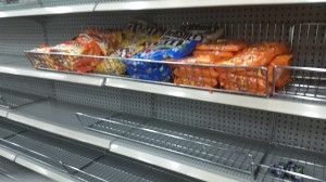 empty candy shelves